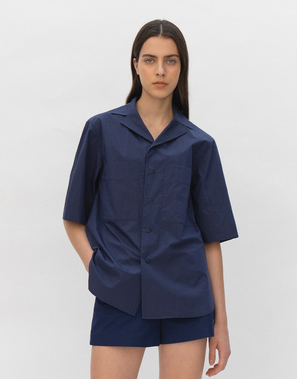 GBH APPAREL ADULT  Open Collar Shirts NAVY