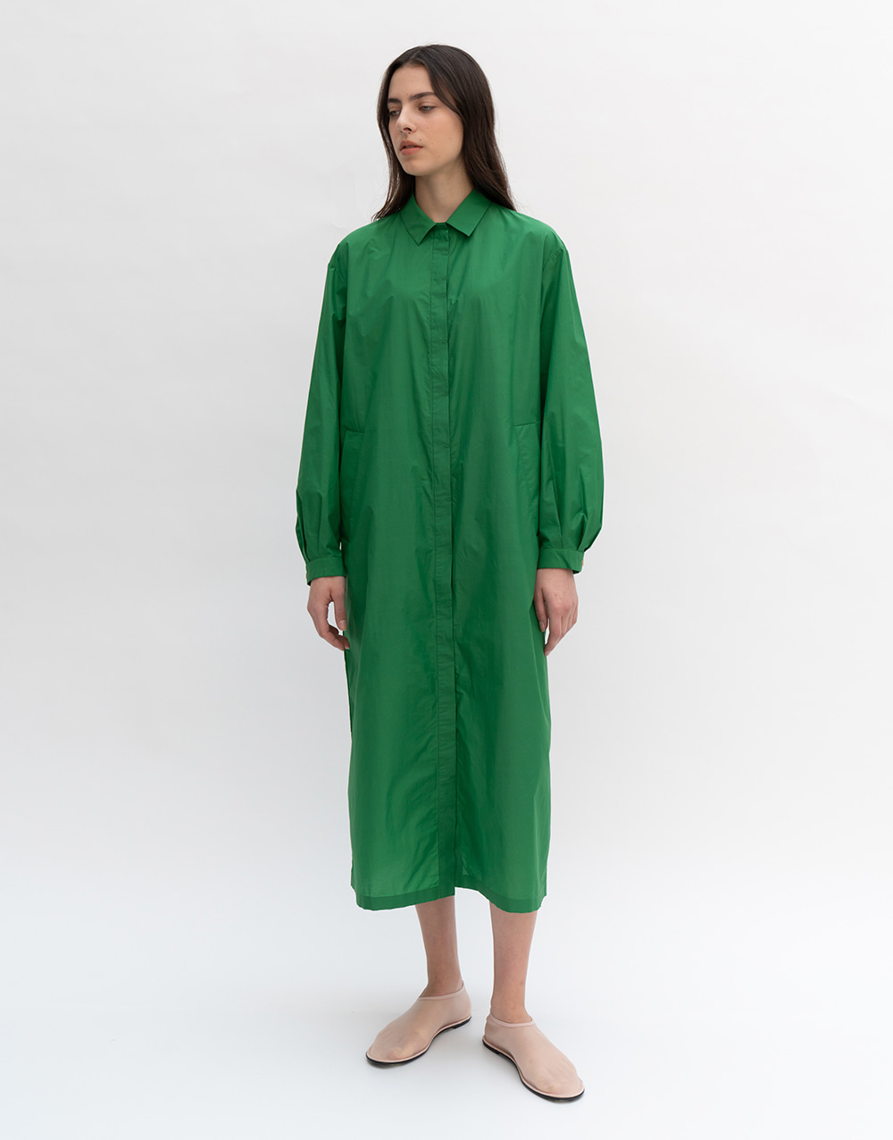 GBH APPAREL ADULT  Oversize Shirts Dress  GREEN