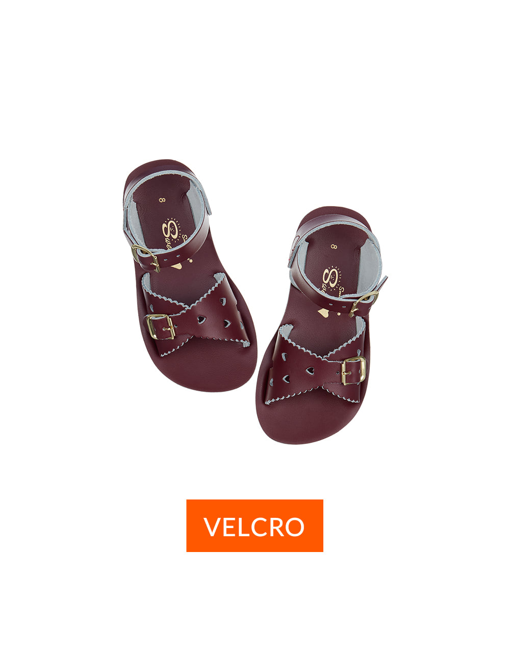 SALT-WATER SANDAL  CHILD VELCRO  SWEETHEART  Claret