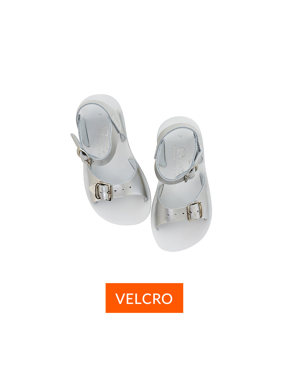SALT-WATER SANDAL  CHILD VELCRO SURFER  PREMIUM  Silver