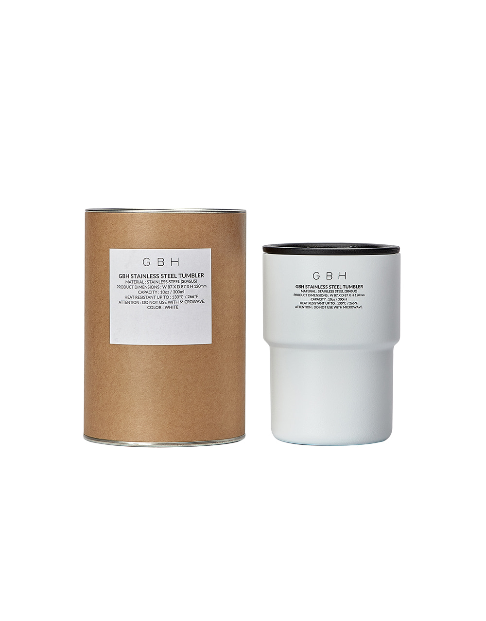 GBH HOME STAINLESS STEEL TUMBLER WHITE + TUMBLER POUCH